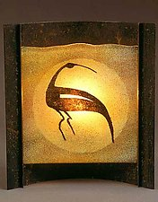 Ancient Ibis by Joan Bazaz (Glass & Copper Lamp)
