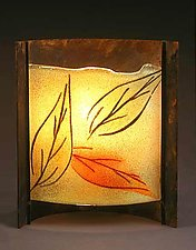 Three Curved Leaves by Joan Bazaz (Glass & Copper Lamp)