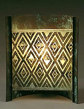 Kuba Cloth by Joan Bazaz (Glass & Copper Lamp)