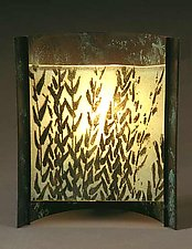 Green Grasses by Joan Bazaz (Glass & Copper Lamp)