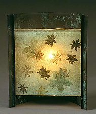 Maple Leaves by Joan Bazaz (Glass & Copper Lamp)