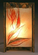 Red Cascade by Joan Bazaz (Glass & Copper Lamp)