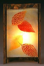 Mosaic Leaves by Joan Bazaz (Glass & Copper Lamp)