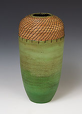 Cylinder Vessel in Greens by Hannie Goldgewicht (Ceramic Vessel)
