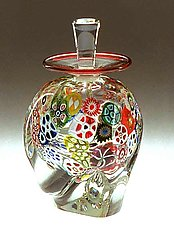 Multi-Murrini Perfume Bottle by Ralph Mossman and Mary Mullaney (Art Glass Perfume Bottle)