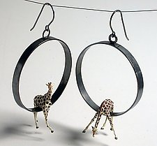 Giraffes in Large Circle Earrings by Kristin Lora (Silver Earrings)