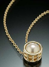 Gold Caged Pearl Pendant by Marie Scarpa (Gold & Pearl Pendant)