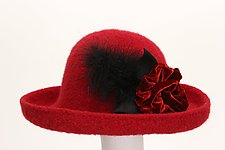 Brimmed Hat with Flower in Red by Tess McGuire  (Felted Hat)