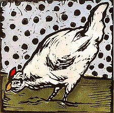 Vintage Icon 2 (Hen) by Lisa Kesler (Handcolored Linocut Print)
