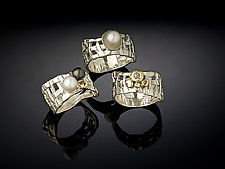 Woven Basket Rings, 3-Ways by Chi Cheng Lee (Silver & Pearl Ring)