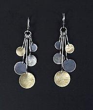 Hammered Disk Drop Earrings by Lisa Crowder (Gold & Silver Earrings)