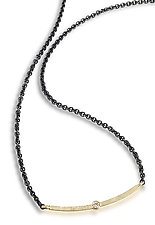 Diamond Bar Necklace by Giselle Kolb (Gold, Silver & Stone Necklace)