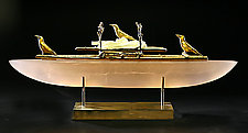 Crow Boat II by Georgia Pozycinski and Joseph Pozycinski (Art Glass & Bronze Sculpture)