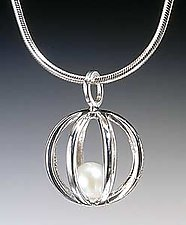 Sphere Cage Pendant by Patricia Madeja (Silver & Pearl Pendant)