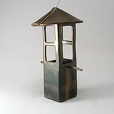 Bird Feeder in Bronze by Cheryl Wolff (Ceramic Bird Feeder)