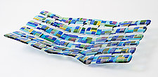 Retro Mesh Blue by Renato Foti (Art Glass Sculpture)