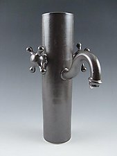 Faucet Vase in Charcoal by Lilach Lotan (Ceramic Vase)