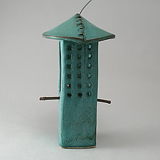 Weathered Bronze Porcelain Bird Feeder by Cheryl Wolff (Ceramic Bird Feeder)