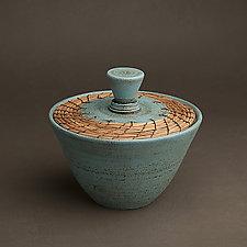 Turquoise Box by Hannie Goldgewicht (Ceramic Vessel)