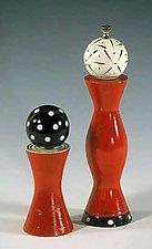 Red Grinder & Shaker by Robert Wilhelm (Wood Pepper Mill & Salt Shaker)
