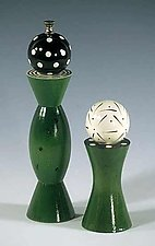 Green Grinder & Shaker by Robert Wilhelm (Wood Pepper Mill & Salt Shaker)