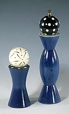 Blue Grinder & Shaker by Robert Wilhelm (Wood Pepper Mill & Salt Shaker)