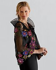 Floral Applique Wrap by Deborah Murphy  (Silk Wrap)