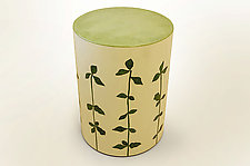 Celery Cylinder on Casters by Lara Moore (Mixed-Media Side Table)