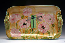 Poppy/Dragonfly Medium Tray by Peggy Crago (Ceramic Tray)