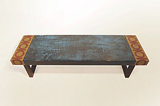 Cyan Stain Bench by Lara Moore (Mixed-Media Bench)