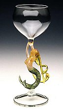 Mermaid Ascending (Blonde Goblet) by Milon Townsend (Art Glass Goblet)