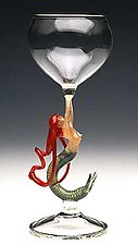Mermaid Ascending (Redhead Goblet) by Milon Townsend (Art Glass Goblet)