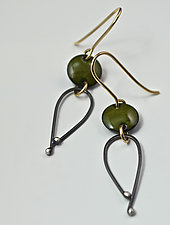 Disk and Loop Earrings by Reiko Miyagi (Silver & Enamel Earrings)
