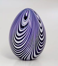 Ribbon Egg by Paul Lockwood (Art Glass Sculpture)