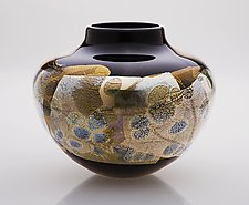 Blackgold Kago by Suzanne Guttman (Art Glass Vase)
