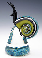 Blue and Green Racer Stripe Snail by Eric Bailey (Art Glass Paperweight)