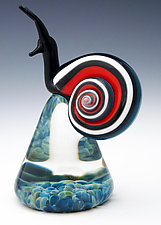 Red and Aqua Blue Racer Stripe Snail by Eric Bailey (Art Glass Paperweight)