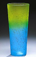 Blue Fade to Lemon by Curt Brock (Art Glass Vase)