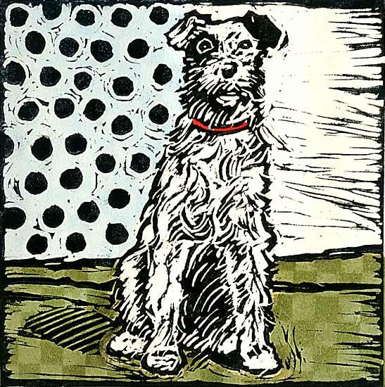 Vintage Dog 2 By Lisa Kesler Handcolored Linocut Print