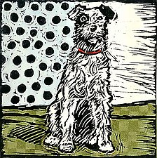 Vintage Dog 2 by Lisa Kesler (Handcolored Linocut Print)