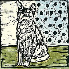 Vintage Cat 2 by Lisa Kesler (Handcolored Linocut Print)