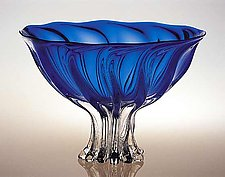 Arbor Bowl, Blue by Ed Branson (Art Glass Bowl)