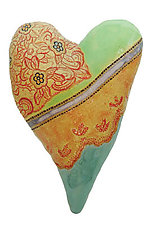 Miss Kitty's Heart by Laurie Pollpeter Eskenazi (Ceramic Wall Sculpture)