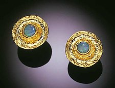 Domed Opal Earrings by Louise Norrell (Gold & Stone Earrings)