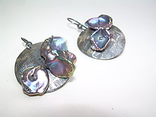 Flake Pearls and Patinated Sterling Silver Dangles by Diana Lovett (Silver & Pearl Earrings)