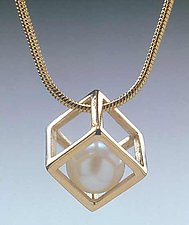 Cage Cubed Pendant by Patricia Madeja (Pearl Pendant)