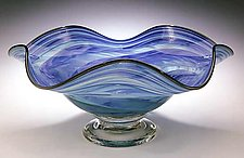 Blue & Green Wavy Bowl by Mark Rosenbaum (Art Glass Bowl)