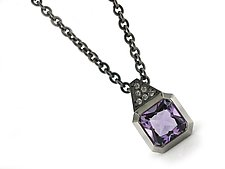 Small Oblique Pendant in Blackened Silver with Amethyst and Diamond by Catherine Iskiw (Silver & Stone Necklace)