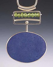 Blue Pendant by Ayala Naphtali (Silver & Coconut Shell Pendant)