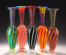 Cane Coil Bottles by Ken Hanson and Ingrid Hanson (Art Glass Sculptures)